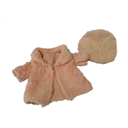 "Pink Fur Coat and Tam for 17-18"" Shirley Type Doll"