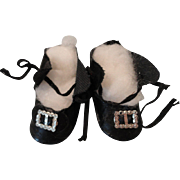 Vintage Oilcloth Doll Shoes w/ Silver Buckles
