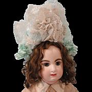 Gorgeous Lacy Aqua Silk Bonnet Artist Made