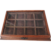 Small Tabletop 1900s Oak Display Box for Jewelry, Other Tiny Items