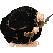 Lovely Antique Doll Bonnet, Black Velvet