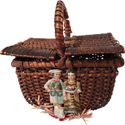 Wicker Picnic Basket w/Christmas Decorations