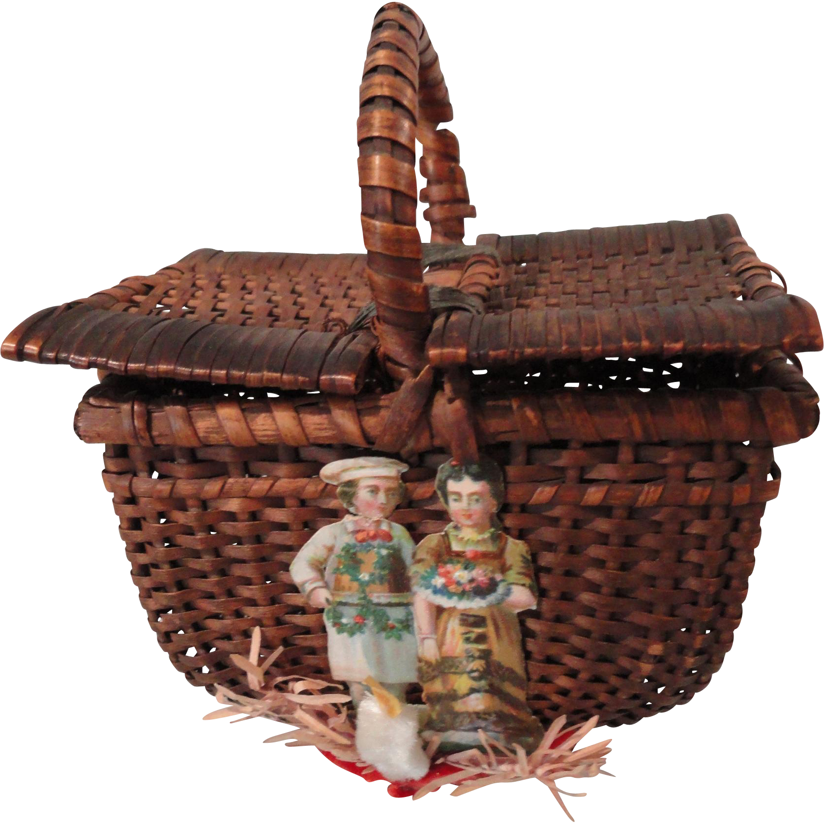 Wicker Picnic Basket W Christmas Decorations From