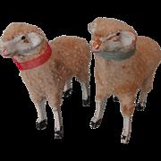 """Pair 3 1/4"""" Putz Sheep"""