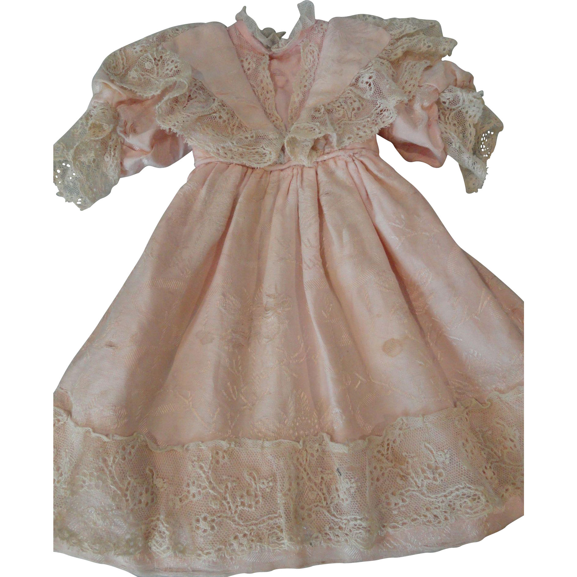 "Lovely Antique Pale Pink Dress for 19"" Doll"
