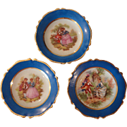 3 Pretty Limoges Plated w/Courting Scenes