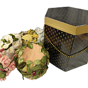 HALF PRICE:  Lovely Old Hat Box Full of Flowered Hats