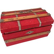 Exceptionally Pretty Domed Red Doll Trunk w/Tray