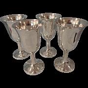 Set of 4 Sterling Wallace Goblets #14 Monogrammed C