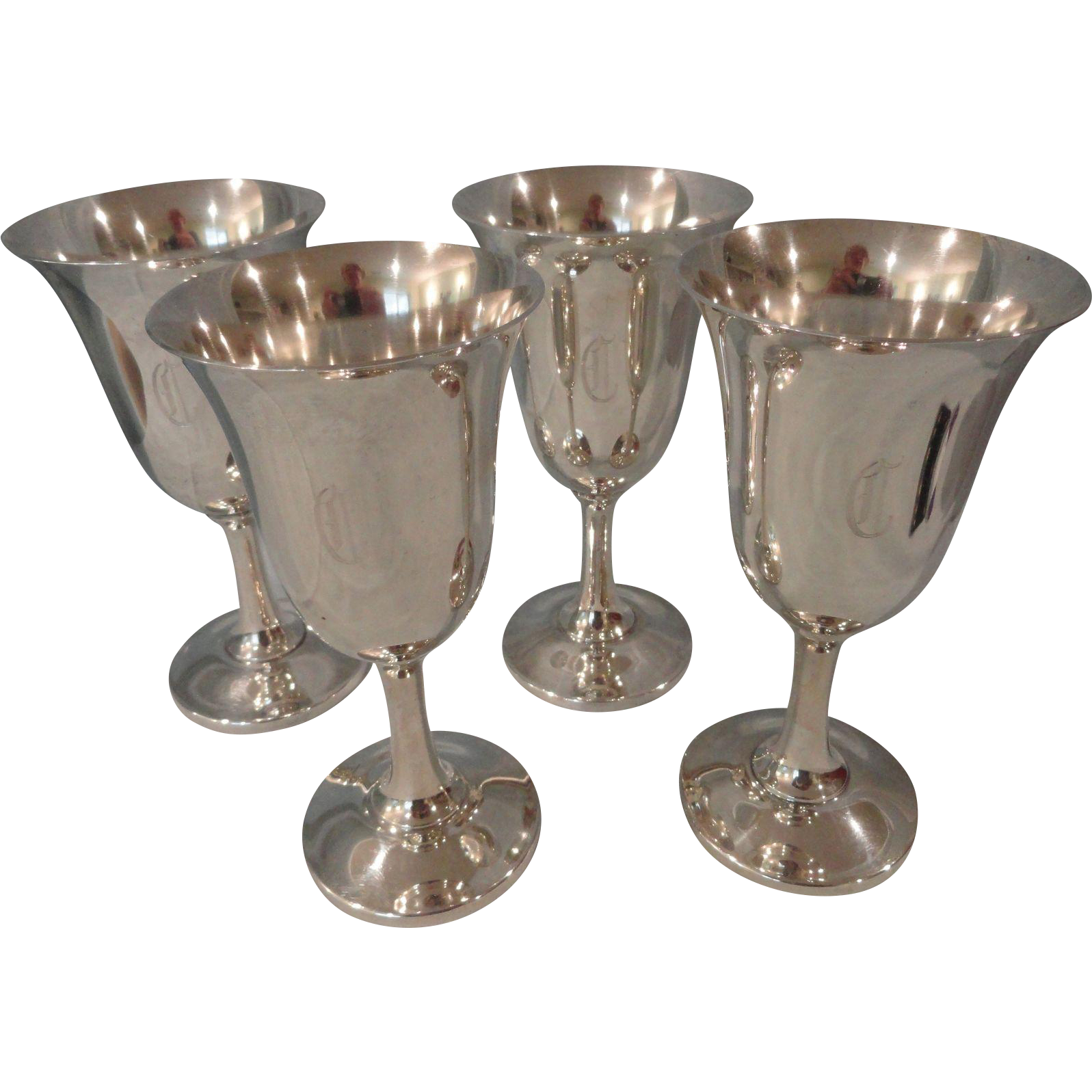 Set of 4 Sterling Wallace Goblets #14 Monogrammed C