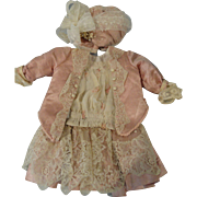 Beautiful 2 Piece Dress of Antique Pink Silk & Lace w/Matching Bonnet