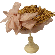 Tiny Straw Bonnet and Celluloid Hat Stand