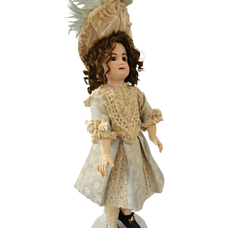 "Exquisite Pale Blue/Cream Brocade Dress, French Bonnet, 24"" Doll"