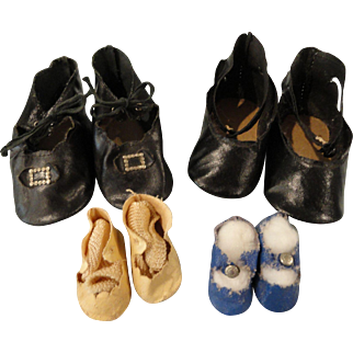 4 Pair Doll Shoes to Repair