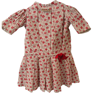 "Sweet Red Print Dress for 24"" Doll"