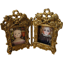 Pretty Double Picture Frame for Dollhouse or Lady's Salon