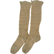 Lacy Ivory and Blue Antique Knit Child's Socks for your Large Doll