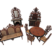 Marvelous 9 Piece Set of German Carved Walnut Doll Parlor Furniture