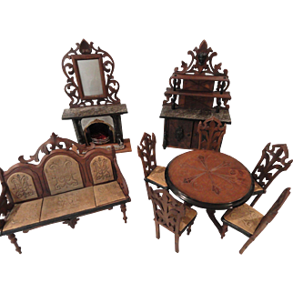 Half Price!:  Marvelous 9 Piece Set of German Carved Walnut Doll Parlor Furniture