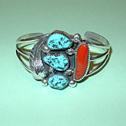 American Native Navajo Turquoise and Coral Cuff Bracelet