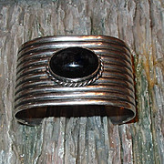 Taxco .925 Silver Wide Band Cuff Bracelet With Jet Cabochon