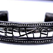Sterling .925 Silver Snake Pattern Cuff Bracelet