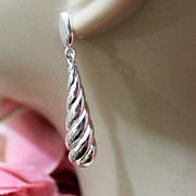 Vintage Sterling Silver Dangle Swirl Drop Earrings