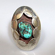 Native American Navajo Turquoise Shadow Box Ring