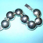 Vintage Taxco .925 Silver Circular Dome Link Bracelet