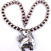 Native American Sterling Galloping Horse Pendant