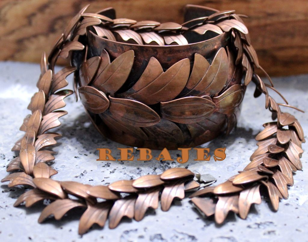 Vintage Rebajes Copper Move-able Leaf Bracelet and Necklace