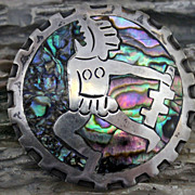 Vintage Taxco Eagle Area Abalone Aztec Warrior Pin