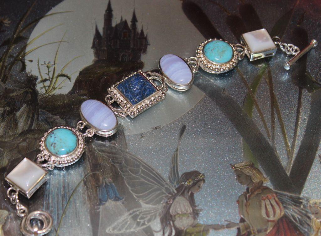 Vintage  .925 Craved Lapis with Turquoise Stone Bracelet