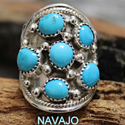 Native American Large Silver Oval Turquoise Ladies Ring