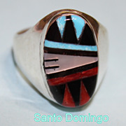Native American Santo Domingo .925 Inlay 11.5 Size Ring