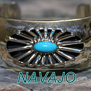 Native American Running Bear Silver Shadow Box Turquoise Cuff Bracelet