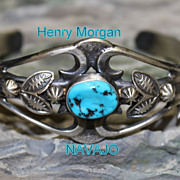 Native American Navajo Henry Morgan Old Pawn Style Sterling Cuff Bracelet