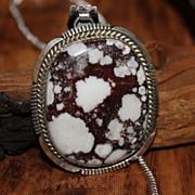 Native American Circa 1990 Wild Horse Magnesite Sterling Pendant