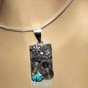 Native American Navajo Sanchez Petroglyph Silver Pendant