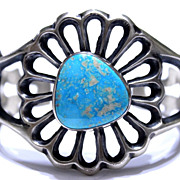 Native American Old Pawn Style Kingman Turquoise Cuff Bracelet