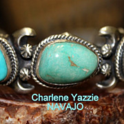 Native American Old Pawn Style Silver Turquoise Cuff Bracelet