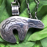 Native American Silver Handmade Chain and Bear Pendant