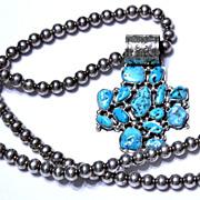 Native American Navajo Kingman Free Form Turquoise Stone Cross Pendant