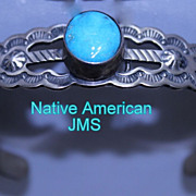 Vintage Native American Sterling Engraved Turquoise Stone Cuff