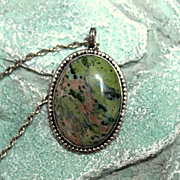 Vintage Unakite Sterling Pendant Necklace Ring Set