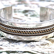 Native American Tom Hawk Silver & 12KG.F. Cuff Bracelet