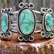 Native American Pre-WWII Coin Silver Carico Lake Turquoise Cuff