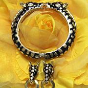Vintage Enamel and Goldtone Kissing Giraffe Hinge Bracelet Set