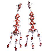 Native American Sterling Long Dangle Earrings