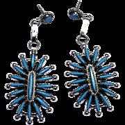 Native American Zuni NeedlePoint Pierced Turquoise Earrings
